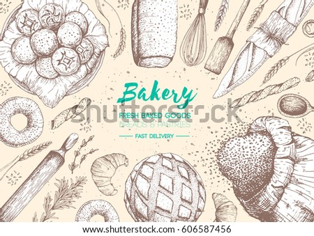 Bakery top view frame. Hand drawn sketch with bread, pastry, sweet. Bakery set vector illustration. Background template for design. Engraved food image.