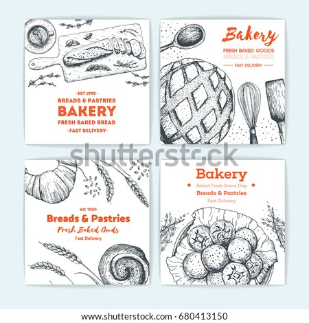 Bakery vector illustration. Banner collection. Hand drawn sketch with bread, pastry, sweet. Background template for design. Engraved food image.