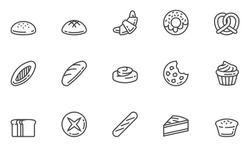Bakery Vector Line Icons Set. Confectionery, Pastry, Bread, Bun, Bakeshop. Editable Stroke. 48x48 Pixel Perfect.