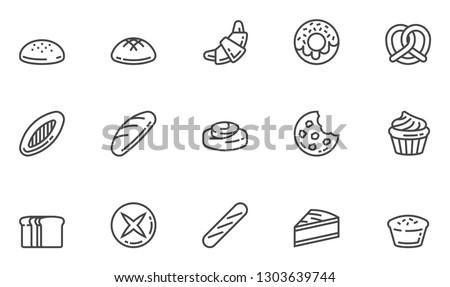 Bakery Vector Line Icons Set. Confectionery, Pastry, Bread, Bun, Bakeshop. Editable Stroke. 48x48 Pixel Perfect.
