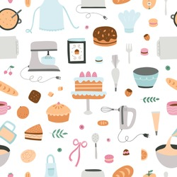 Baking and cooking seamless pattern. Repeat background with kitchen equipment, ingredients, sweet desserts and cakes