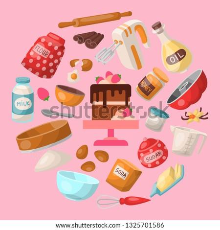 Baking cartoon tools and food seamless pattern. Kitchen utensils. Baking ingredients sugar, vanilla, flour, oil, butter, baking soda, cake, eggs. Cooking vector illustration.