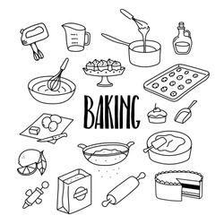 Baking, desserts, sweets related hand drawn doodle vector illustration with cake, cookies, whisk, measuring cup, cookies, rolling pin, eggs, flour.