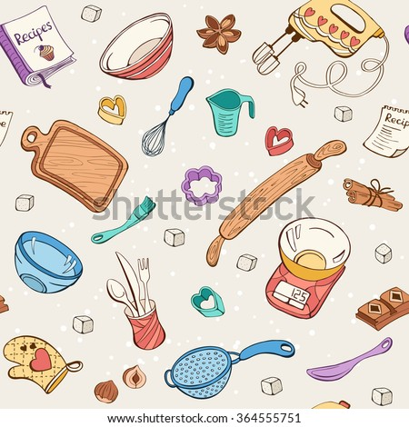 Baking doodle background. Vector seamless pattern with kitchen tools. Hand drawn baking utensils.