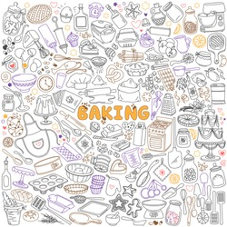Baking doodles set. Bakery, confectionery and pastry stuff, tools, utensils, equipment and cooking ingredients. Freehand vector drawings isolated on white background