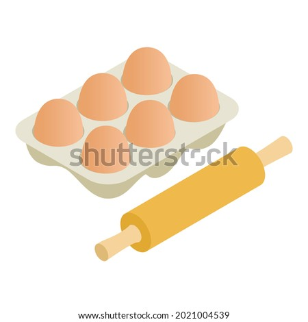 Baking icon isometric vector. Wooden rolling pin and chicken egg packing. Dough preparation, cooking concept Foto d'archivio ©