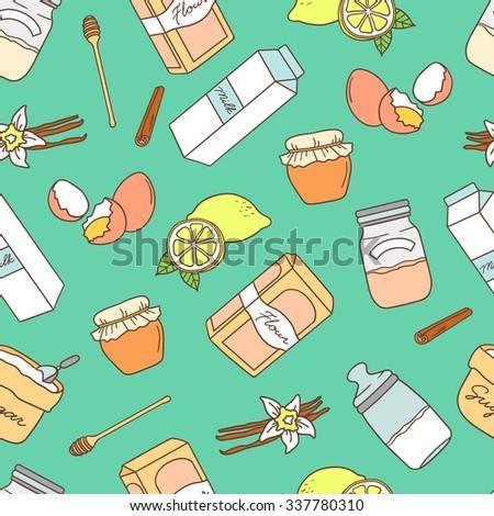 baking ingredients hand drawn
