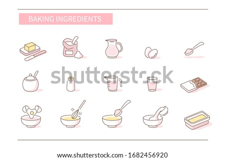 Baking Ingredients Icons Set. Various Food Symbols. Wheat Flour, Milk, Eggs, Sugar and other Cooking Ingredients. Preparation Dough for Pastry.  Flat Line Cartoon Vector Illustration.
