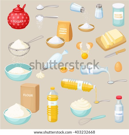 Shutterstock Baking ingredients set: sugar, salt, flour, starch, oil, butter, baking soda, baking powder, vinegar, eggs, whipped cream. Cooking vector illustration. Kitchen utensils.  Food