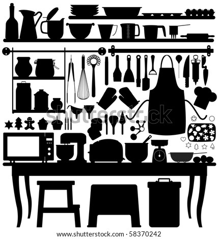 Baking Pastry Kitchen Tool Silhouette Vector - stock vector