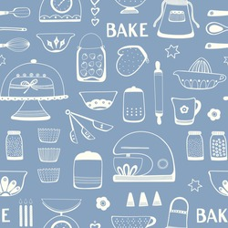 Baking pattern design. Seamless repeat of home cake cooking utensils and ingredients. Kitchen vector illustration of hand drawn outlines in grey and cream. Home baking resource.