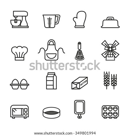 Baking Tool Icons Set. Line Style stock vector.