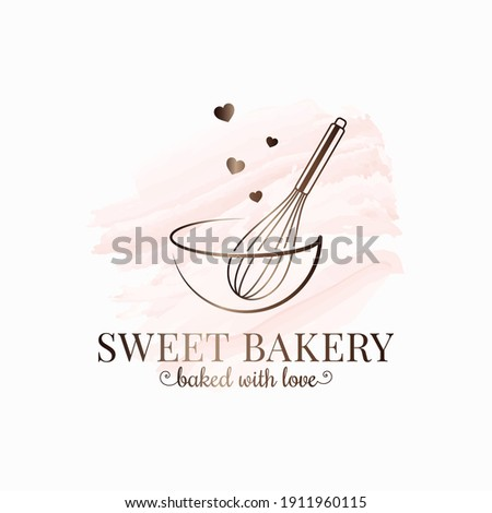 Baking with wire whisk watercolor  logo on white background