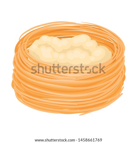Baklava in the form of a large nest. Vector illustration on white background.