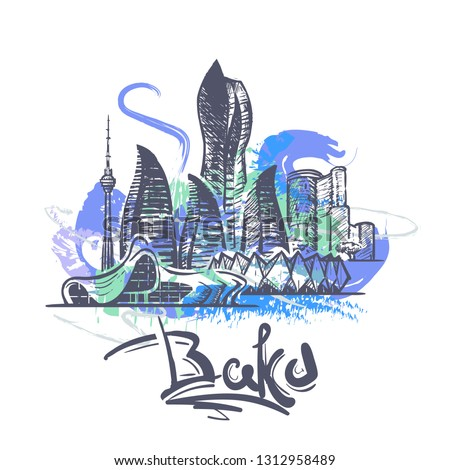 Baku abstract color drawing. Baku sketch vector illustration isolated on white background.