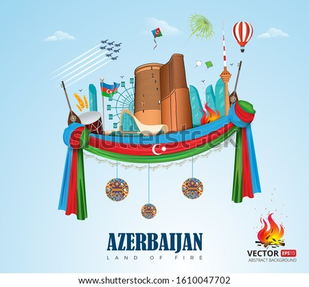 Baku Azerbaijan city vector flag illustration banner background. Independence, Republic, Military day label sticker flat tourism sky land of fire