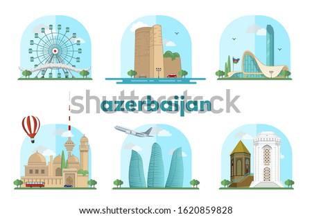 Baku, Azerbaijan Nakhchivan city vector illustrations Maiden tower, Flame towers, Heydar Aliyev center, Huseyn Javid monuments, blue residences sights icon vector design isolated architechture tourism