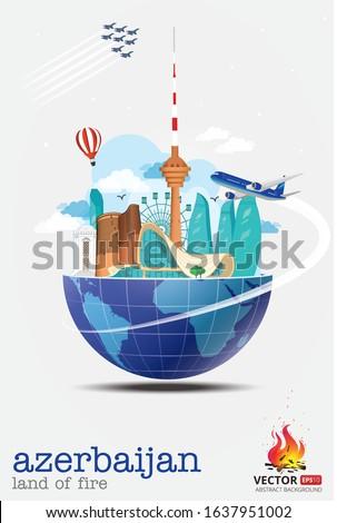Baku Azerbaijan travel tourism vacation city landmarks globe world buildings journey template maiden tower heydar aliyev center plane jet flame towers sky holiday poster post print vector