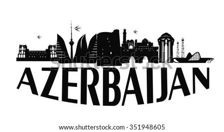 Baku Azerbaijan typographic design black vector illustration