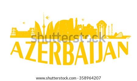 Baku Azerbaijan typographic design gold on white background vector illustration