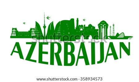 Baku Azerbaijan typographic design green on white background vector illustration
