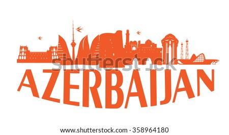 Baku Azerbaijan typographic design orange on white background vector illustration