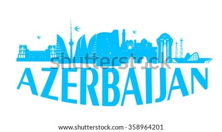 Baku Azerbaijan typographic design skyblue on white background vector illustration