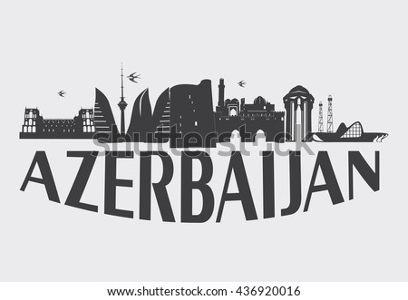 Baku Azerbaijan typographic design. Vector illustration