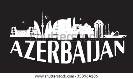 Baku Azerbaijan typographic design white on black background vector illustration