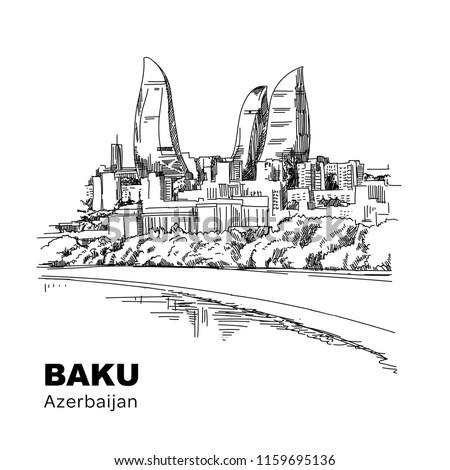 Baku Azerbaijan, vector hand drawing. Sketchy line art drawing. Vector sketch city.