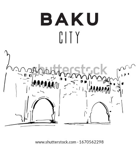 Baku Azerbaijan, vector hand drawn. Vector city.