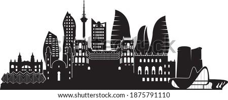 Baku Azerbaijan vector silhouette icon