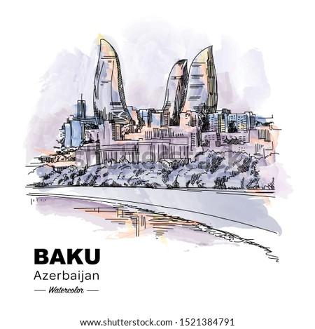 Baku Azerbaijan, watercolor vector hand drawing. Sketchy line art drawing. Vector sketch city.
