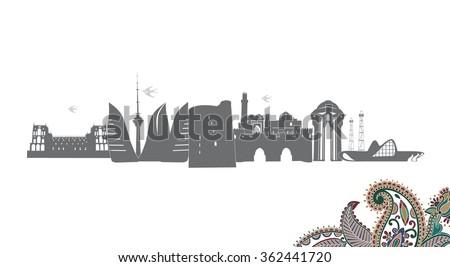 Baku Azerbaijan with typographic Design on white background vector illustration