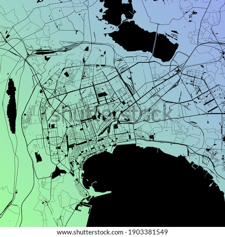 Baku, Baki, Azerbaijan (AZE) - Urban vector city map with parks, rail and roads, highways, minimalist town plan design poster, city center, downtown, transit network, gradient blueprint