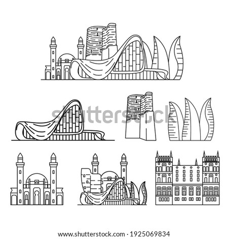 Baku city landmarks, vector outline buildings, simple icons, Azerbaijan illustrations