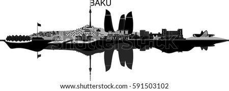 Baku city skyline on white background. Vector illustration. The most popular buildings.