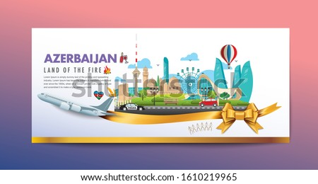Baku city travel vacation vector Azerbaijan flag illustration banner background