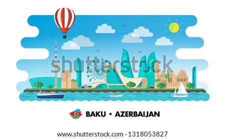 Baku city vector Azerbaijan flag illustration banner background.Independence day, Republic day, Military day label, sticker, booklet, flayer, brochure flat tourism