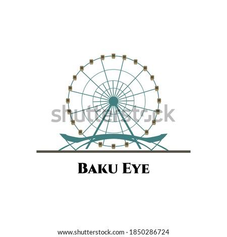 Baku Ferris Wheel or Baku Eye. Primorsky Boulevard, Baku, Azerbaijan. One of best sightseeing for tourist vacation. Azerbaijan country flat cartoon style historic showplace web vector illustration