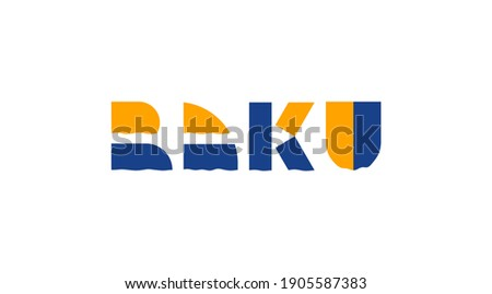 Baku lettering logotype. Azerbaijan city Baku vector icon