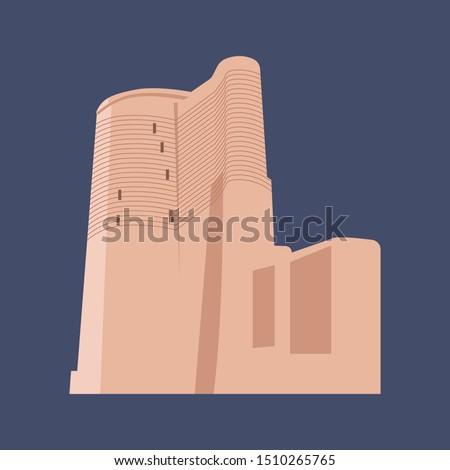 Baku Maiden tower vector, old tower, Azerbaijan maiden tower, old building ,   flat tower