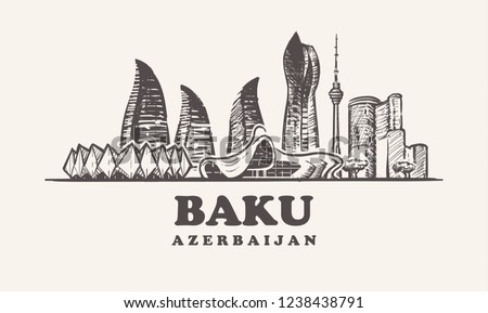 Baku skyline,Azerbaijan vintage vector illustration, hand drawn buildings of Baku on white background.
