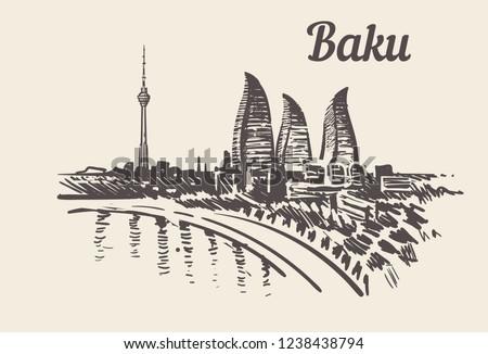 Baku skyline  hand drawn sketch vector illustration.