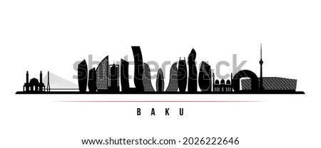 Baku skyline horizontal banner. Black and white silhouette of Baku, Azerbaijan. Vector template for your design.