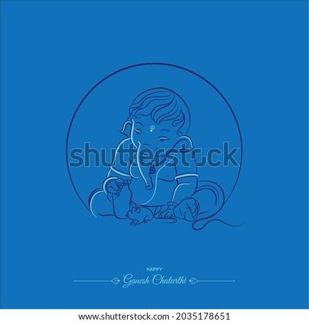 bal ganesha line drawing illustration with blue background Foto stock ©