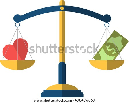 Balance between heart and money. Vector flat illustration