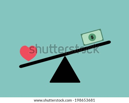 Balance between heart (love) and money vector design / Love is more valuable than money concept vector