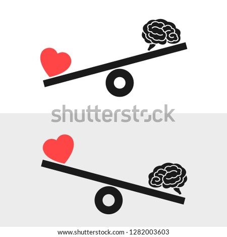 Balance between irrational love, emotions, feelings, heart and rational reason, brain. Rationality and rationalism against irrationality and irrationalism. Vector illustration of weight with pictogram