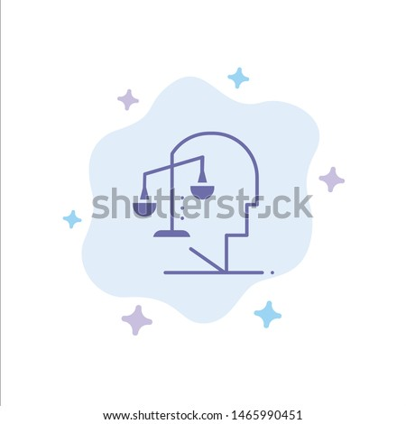 Balance, Equilibrium, Human, Integrity, Mind Blue Icon on Abstract Cloud Background. Vector Icon Template background
